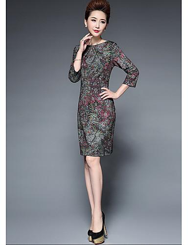 Damen Hülle Kleid-Lässig/Alltäglich Solide Druck Rundhalsausschnitt Knielang 3/4 Ärmel Polyester Herbst Mittlere Hüfthöhe Mikro-elastisch