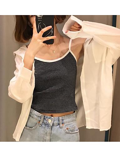نساء قميص ذهاب للخارج مثير سادة صيف قبعة القميص كم طويل قطن كتان رقيق