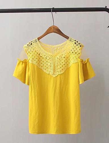 Damen Solide Einfach Sexy Street Schick Ausgehen Lässig/Alltäglich T-shirt,Hemdkragen Sommer Kurzarm Baumwolle Polyester Dünn