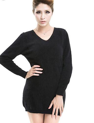Damen Lang Pullover-Lässig/Alltäglich Solide V-Ausschnitt Langarm Wolle Frühling Winter Mittel Mikro-elastisch