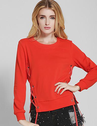 Damen Solide Retro Einfach Festtage Ausgehen Lässig/Alltäglich T-shirt,Rundhalsausschnitt Frühling Herbst Langarm Baumwolle Polyester