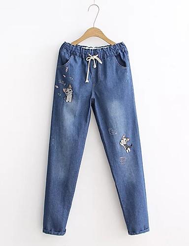 Damen Jeans Hose,Baumwolle Andere Solide Stickerei