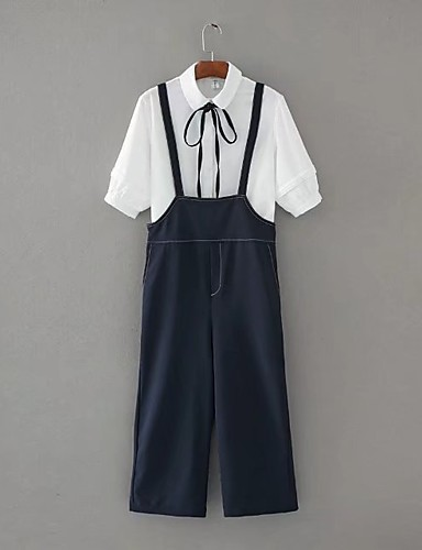 Damen Schwarz & Weiß Einfach Sexy Strand Shirt Hose Anzüge,Hemdkragen Frühling Sommer Herbst ¾ Ärmel Schleife