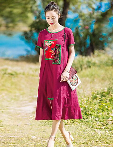 Damen Swing Kleid-Lässig/Alltäglich Solide Stickerei Rundhalsausschnitt Midi Kurzarm Baumwolle Leinen Frühling Sommer Mittlere Hüfthöhe