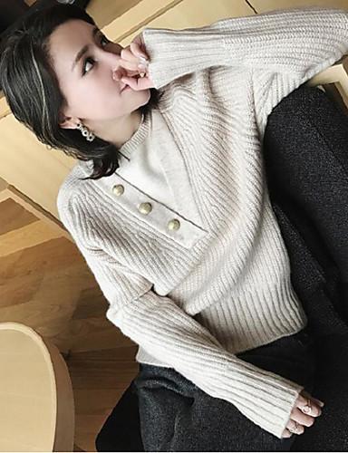 Damen Standard Pullover-Lässig/Alltäglich Solide Rundhalsausschnitt Langarm Polyester Herbst Winter Mittel Mikro-elastisch