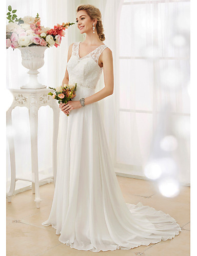 Linha A Decote V Cauda Corte Chiffon Corpete de renda Vestidos de noiva personalizados com Miçangas Apliques Botão de LAN TING BRIDE®