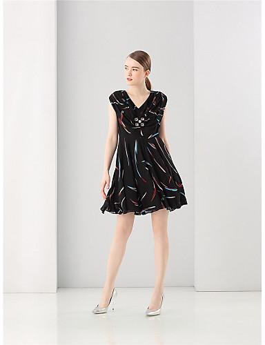 صيف بوليستر كم قصير فوق الركبة رقبة V طباعة فستان A خط جميل ذهاب للخارج نساء,وسط مطاطي صغير وسط