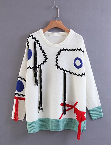 Damen Standard Pullover-Lässig/Alltäglich Ausgehen Einfach Solide Einfarbig Rundhalsausschnitt Langarm Baumwolle Andere Frühling Herbst