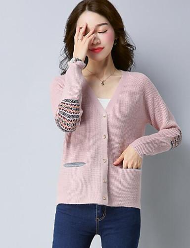 Damen Standard Strickjacke-Lässig/Alltäglich Solide V-Ausschnitt Langarm Wolle Andere Frühling Herbst Mittel Mikro-elastisch