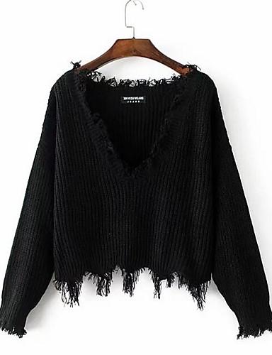 Damen Standard Pullover-Ausgehen Lässig/Alltäglich Street Schick Solide V-Ausschnitt Langarm Baumwolle Acryl Herbst Mittel Mikro-elastisch
