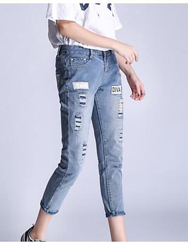 Damen Einfach Hohe Hüfthöhe Mikro-elastisch Jeans Schlank Hose Solide