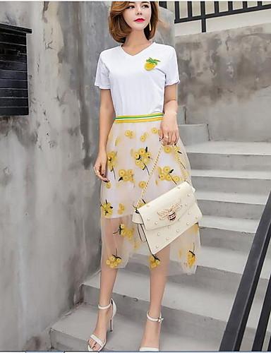 Damen Blumen Einfach Lässig/Alltäglich T-Shirt-Ärmel Rock Anzüge,V-Ausschnitt Sommer Kurzarm