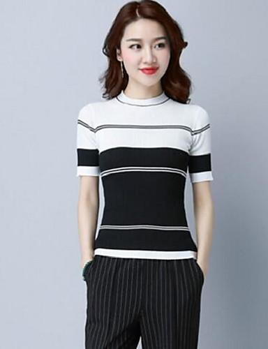 Damen Standard Pullover-Lässig/Alltäglich Gestreift Rundhalsausschnitt Kurzarm Baumwolle Andere Sommer Mittel Mikro-elastisch