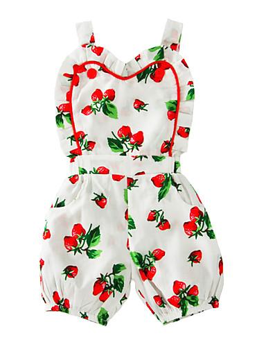 Baby Mädchen Einzelteil Baumwolle Sommer Ärmellos Blumig Weiß