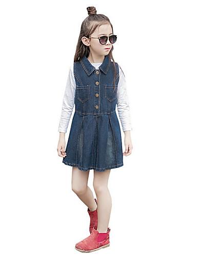 Mädchen Kleid einfarbig Baumwolle Polyester Frühling Herbst Ärmellos