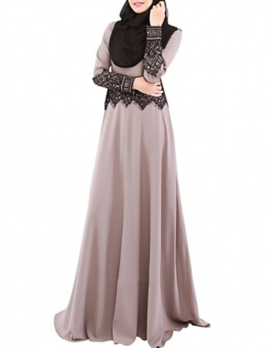 Women's Party Jalabiya Dress - Solid Colored Lace Maxi