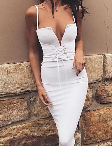 Women's Club A Line Bodycon Dress - Solid Colored White, Backless Strap