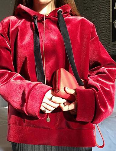 Damen Kapuzenshirt Sport Ausgehen Lässig/Alltäglich Einfach Aktiv Boho Solide Fleece-Futter Mikro-elastisch Baumwolle Leinen Acryl Lange
