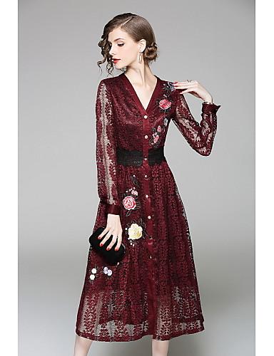 Damen Hülle Spitze Kleid-Lässig/Alltäglich Solide Stickerei V-Ausschnitt Midi Langarm Baumwolle Herbst Mittlere Hüfthöhe Mikro-elastisch
