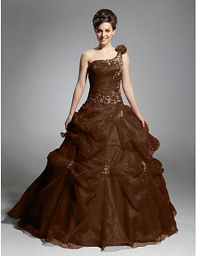 abordables robe grande taille-Robe de Soirée Une Epaule Longueur Sol Organza Soirée Formel Robe avec Billes / Jupe par TS Couture®