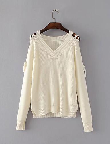 Damen Standard Pullover-Ausgehen Lässig/Alltäglich Einfach Solide V-Ausschnitt Langarm Baumwolle Polyester Frühling Herbst Dünn Mittel