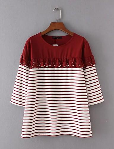 Damen Gestreift Einfarbig Einfach Aktiv Ausgehen Lässig/Alltäglich T-shirt,Rundhalsausschnitt Sommer Herbst Langarm Baumwolle Acryl