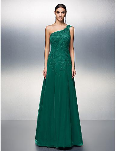 d221a019a0d1 Γραμμή Α Ένας Ώμος Μακρύ Τούλι   Δαντέλα χάντρες Κοκτέιλ Πάρτι    Χοροεσπερίδα   Επίσημο Βραδινό Φόρεμα με Διακοσμητικά Επιράμματα με TS  Couture®