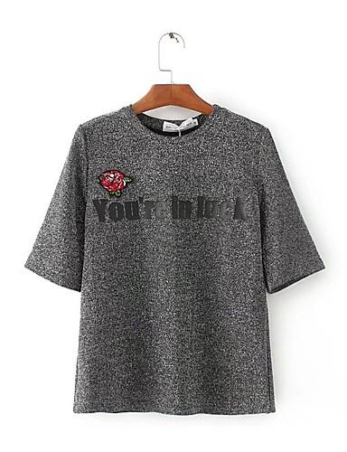 Damen Buchstabe Einfach Niedlich Aktiv Sport Ausgehen Lässig/Alltäglich T-shirt,Rundhalsausschnitt Sommer Herbst Halbe Ärmel Baumwolle