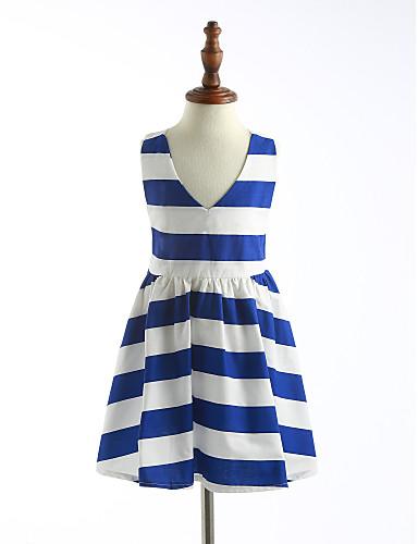 Mädchen Kleid Gestreift Baumwolle Sommer Ärmellos Streifen Blau