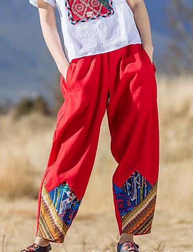 Damen Chinoiserie Mittlere Hüfthöhe Mikro-elastisch Breites Bein Haremshosen Hose Solide Verziert