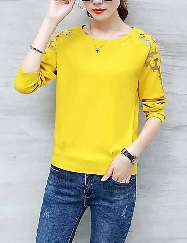 Damen Solide - Einfach / Street Schick Ausgehen T-shirt Ausgehöhlt Fledermaus Ärmel