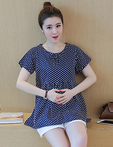 Damen Solide Punkt Einfach Aktiv Lässig/Alltäglich T-Shirt-Ärmel Hose Anzüge,Rundhalsausschnitt Sommer Kurzarm Schößchen Mikro-elastisch