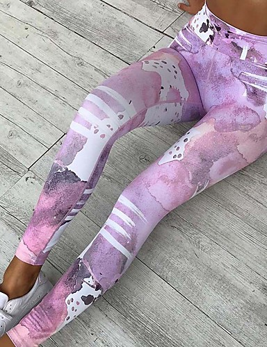 Women's Sporty Legging - Striped / Color Block, Print High Waist / Floral Patterns / Skinny