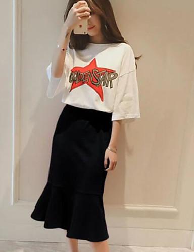 Damen T-shirt - Solide Buchstabe & Nummer Rock