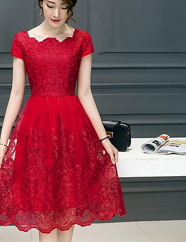 Damen Spitze Kleid-Lässig/Alltäglich Einfach Solide Bateau Knielang Kurzarm Acryl Frühling Sommer Mittlere Hüfthöhe Unelastisch