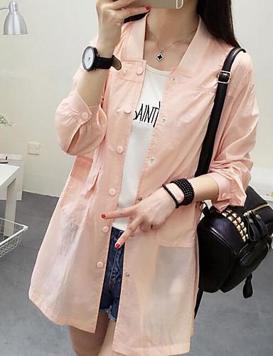 Damen Solide Einfach Lässig/Alltäglich Trench Coat,Ständer Sommer Lange Ärmel Standard Polyester