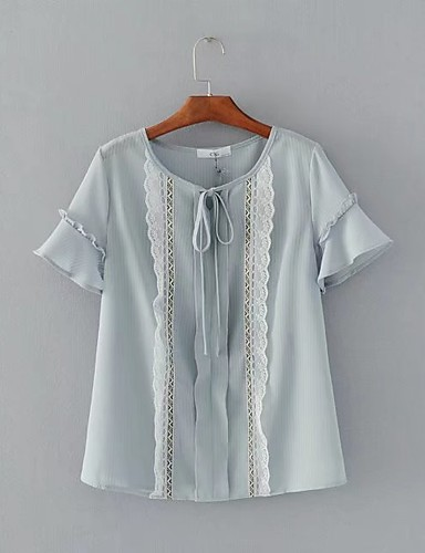 Damen Solide Einfach Ausgehen Lässig/Alltäglich Bluse,Rundhalsausschnitt Sommer Kurzarm Baumwolle Dünn Mittel