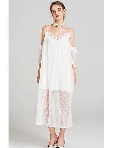 Damen Hülle Spitze Kleid-Lässig/Alltäglich Solide Punkt Stickerei V-Ausschnitt Midi 3/4 Ärmel Elasthan Frühling Hohe Hüfthöhe