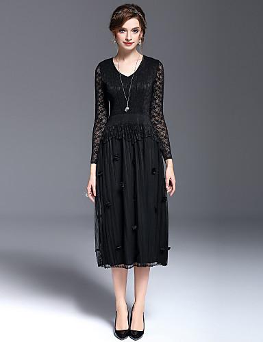 Damen Anspruchsvoll Spitze Kleid - Spitze Schößchen, Solide Midi