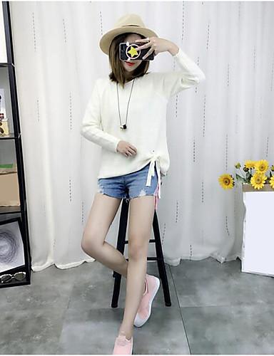 Damen Standard Pullover-Lässig/Alltäglich Einfach Solide Rundhalsausschnitt Langarm Polyester Herbst Mittel Mikro-elastisch