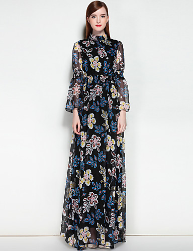 Damen Arbeit Swing Kleid Solide Blumen Maxi Ständer