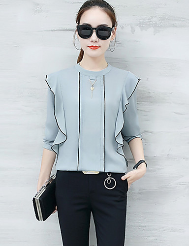 Women's Blouse - Solid Colored Crew Neck