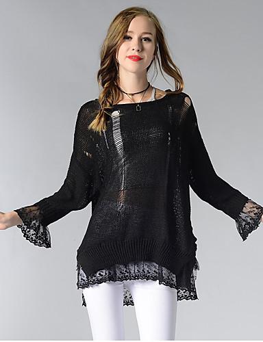 Damen Standard Pullover-Lässig/Alltäglich Niedlich Solide Rundhalsausschnitt Langarm Baumwolle Acryl Herbst Dünn Mikro-elastisch