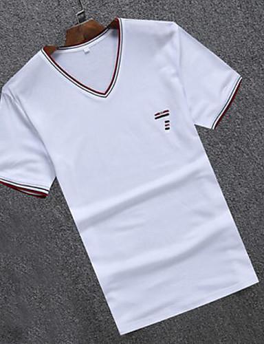 Herren Gestreift Druck Einfach Lässig/Alltäglich T-shirt,V-Ausschnitt Kurzarm Baumwolle