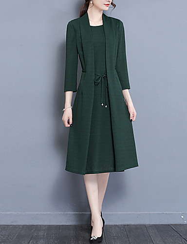 Női Extra méret Alkalmi Vintage / Kínai / Ízléses Hüvely Ruha Egyszínű Midi