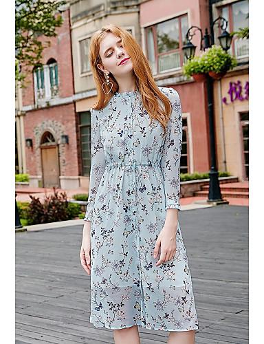 Damen Swing Kleid-Ausgehen Niedlich Druck Ständer Midi Langarm Polyester Herbst Mittlere Hüfthöhe Mikro-elastisch Mittel