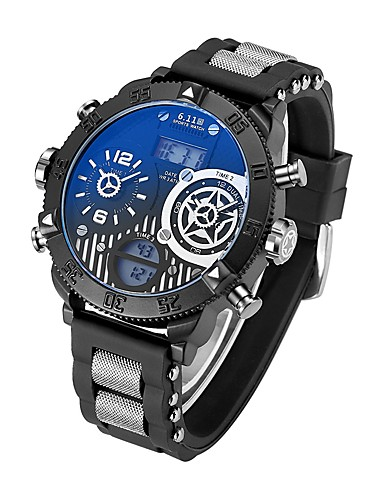 Men's Wrist Watch Japanese Calendar / date / day / Water Resistant / Water Proof / Creative Silicone Band Charm / Luxury / Vintage Black / Stainless Steel / Noctilucent / Large Dial
