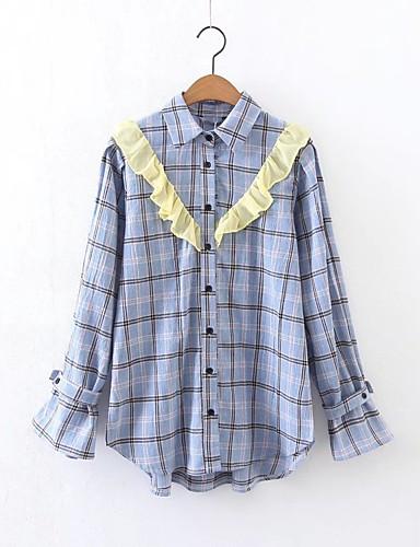Damen Verziert Einfach Sexy Street Schick Ausgehen Lässig/Alltäglich Hemd,Hemdkragen Sommer Langarm Baumwolle Dünn Mittel