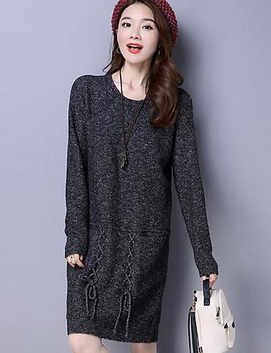 Damen Lose Kleid-Ausgehen Solide Rundhalsausschnitt Knielang Langarm Baumwolle Herbst Mittlere Hüfthöhe Mikro-elastisch Mittel