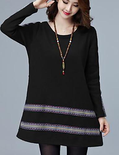 Women's Plus Size Loose Dress Black, Print